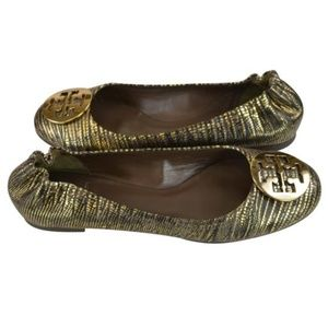 Tory Burch Bronze Reva Leather Flats